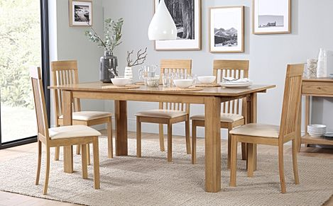 Bali Oak Extending Dining Table with 6 Oxford Chairs (Ivory Leather Seat Pads)