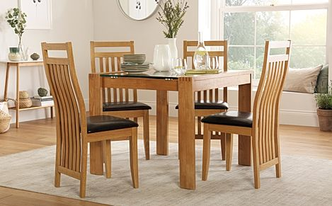 Tate Oak and Glass Square Dining Table with 4 Bali Chairs (Brown Seat Pad)