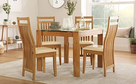 Tate Oak and Glass Square Dining Table with 4 Bali Chairs (Ivory Seat Pad)