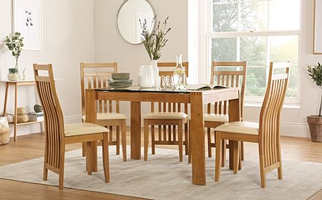 Tate 120cm Oak and Glass Dining Table with 4 Bali Chairs (Ivory Leather Seat Pads)