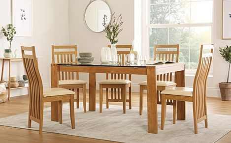 Tate 150cm Oak and Glass Dining Table with 6 Bali Chairs (Ivory Leather Seat Pads)