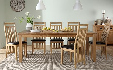 Highbury Oak Extending Dining Table with 8 Bali Chairs (Brown Leather Seat Pads)