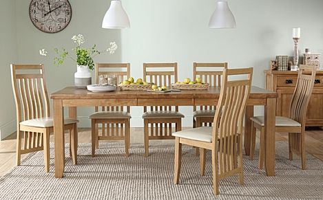 Highbury Oak Extending Dining Table with 8 Bali Chairs (Ivory Leather Seat Pads)