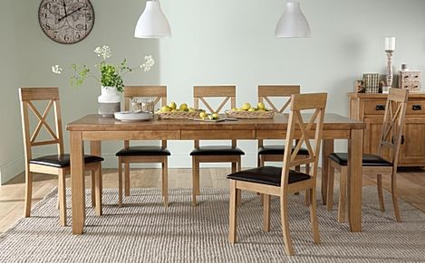 Highbury Oak Extending Dining Table with 6 Kendal Chairs (Brown Leather Seat Pad)