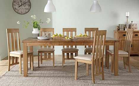 Highbury Oak Extending Dining Table with 6 Chester Chairs (Ivory Leather Seat Pads)