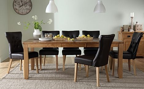 Highbury Oak Extending Dining Table with 6 Bewley Brown Chairs