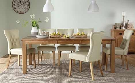 Highbury Oak Extending Dining Table with 6 Bewley Ivory Leather Chairs