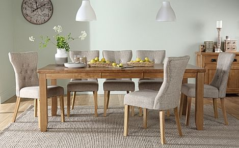Highbury Oak Extending Dining Table with 8 Bewley Oatmeal Fabric Chairs
