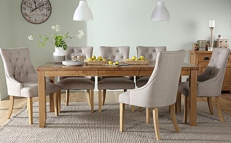 Highbury Oak Extending Dining Table with 8 Duke Oatmeal Fabric Chairs