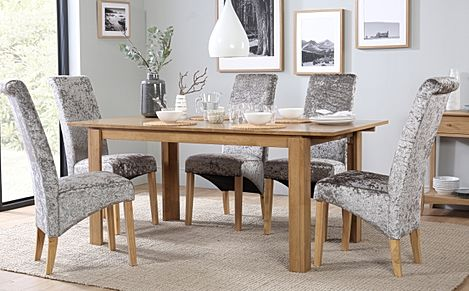 Bali Oak Extending Dining Room Table with 6 Boston Silver Velvet Chairs