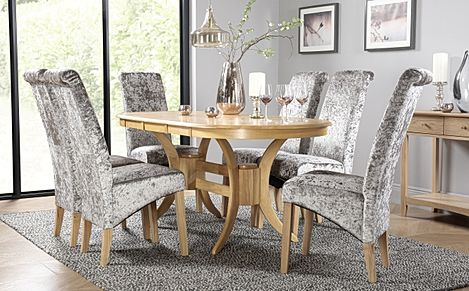 Townhouse Oval Oak Extending Dining Room Table with 6 Boston Silver Velvet Chairs