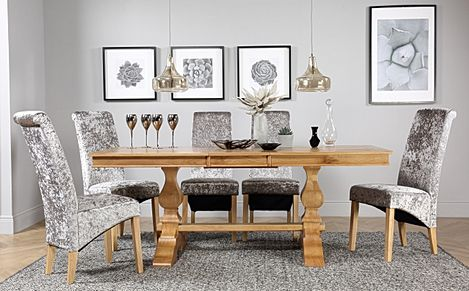 Cavendish Oak Extending Dining Table with 8 Boston Silver Velvet Chairs