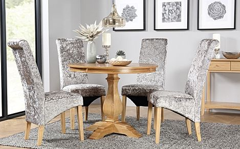 Cavendish Round Oak Dining Table with 4 Boston Silver Velvet Chairs