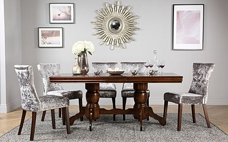 Chatsworth Dark Wood Extending Dining Room Table with 6 Bewley Silver Velvet Chairs