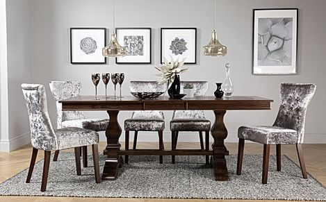Cavendish Dark Wood Extending Dining Table with 6 Bewley Silver Velvet Chairs