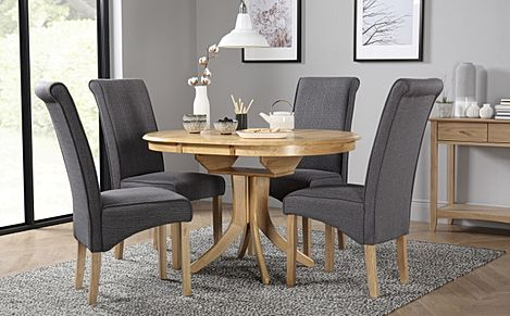 Hudson Round Oak Extending Dining Table with 4 Stamford Slate Fabric Chairs