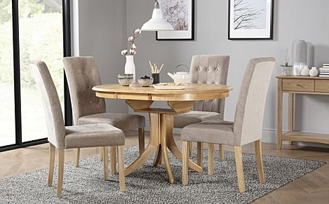 Hudson Round Oak Extending Dining Table with 6 Regent Oatmeal Fabric Chairs