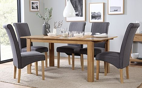 Bali Oak Extending Dining Table with 6 Stamford Slate Chairs