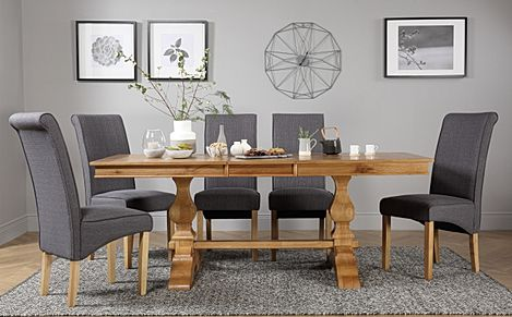 Cavendish Oak Extending Dining Table with 8 Stamford Slate Fabric Chairs