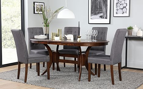 Townhouse Oval Dark Wood Extending Dining Table with 6 Regent Slate Fabric Chairs
