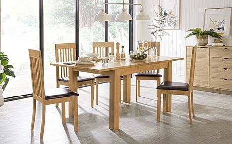 Hamilton 120-170cm Oak Extending Dining Table with 4 Oxford Chairs (Brown Leather Seat Pad)