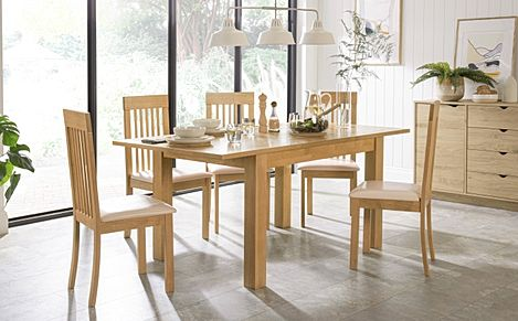 Hamilton 120-170cm Oak Extending Dining Table with 4 Oxford Chairs (Ivory Leather Seat Pad)
