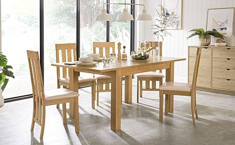 Hamilton Oak 120-170cm Extending Dining Table with 6 Chester Chairs (Ivory Leather Seat Pad)
