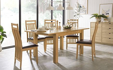 Hamilton 120-170cm Oak Extending Dining Table with 4 Bali Chairs (Brown Leather Seat Pad)