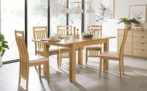 Hamilton 120-170cm Oak Extending Dining Table with 4 Bali Chairs (Ivory Leather Seat Pad)