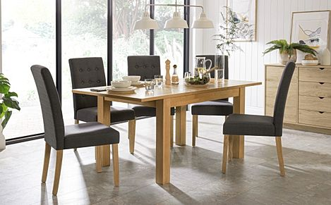 Hamilton 120-170cm Oak Extending Dining Table with 4 Regent Slate Fabric Chairs