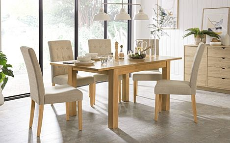 Hamilton 120-170cm Oak Extending Dining Table with 4 Regent Oatmeal Fabric Chairs