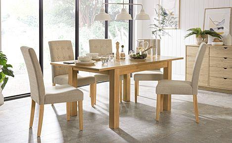 Hamilton 120-170cm Oak Extending Dining Table with 6 Regent Mink Chairs