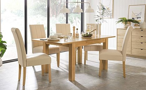 Hamilton 120-170cm Oak Extending Dining Table with 4 Carrick Ivory Leather Chairs
