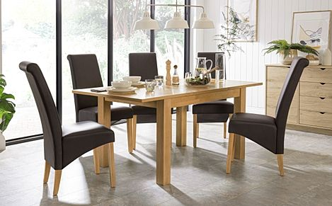 Hamilton 120-170cm Oak Extending Dining Table with 4 Richmond Brown Leather Chairs