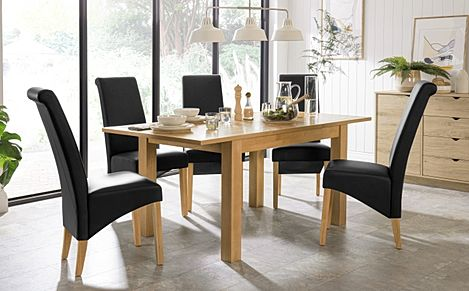 Hamilton 120-170cm Oak Extending Dining Table with 6 Richmond Black Chairs