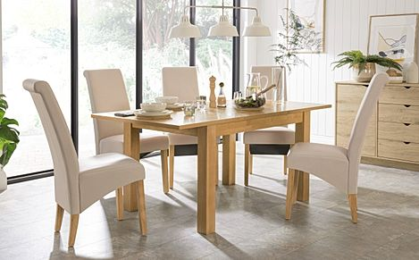 Hamilton 120-170cm Oak Extending Dining Table with 4 Richmond Cream Leather Chairs