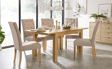 Hamilton 120-170cm Oak Extending Dining Table with 4 Hatfield Oatmeal Fabric Chairs