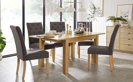 Hamilton 120-170cm Oak Extending Dining Table with 4 Hatfield Slate Fabric Chairs