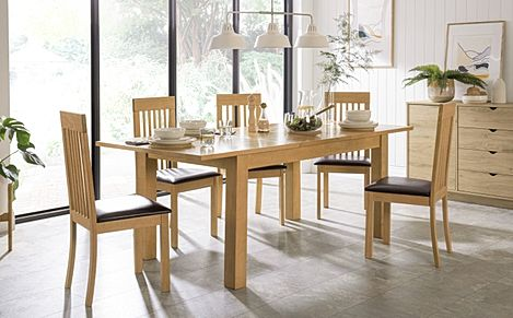 Hamilton 150-200cm Oak Extending Dining Table with 6 Oxford Chairs (Brown Leather Seat Pads)
