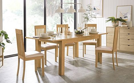 Hamilton 150-200cm Oak Extending Dining Table with 6 Oxford Chairs (Ivory Leather Seat Pads)