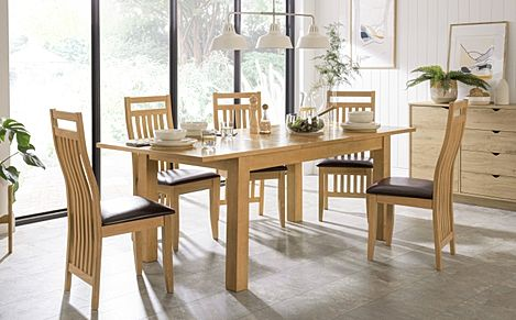 Hamilton 150-200cm Oak Extending Dining Table with 6 Bali Chairs (Brown Leather Seat Pads)
