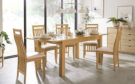 Hamilton 150-200cm Oak Extending Dining Table with 6 Bali Chairs (Ivory Leather Seat Pads)