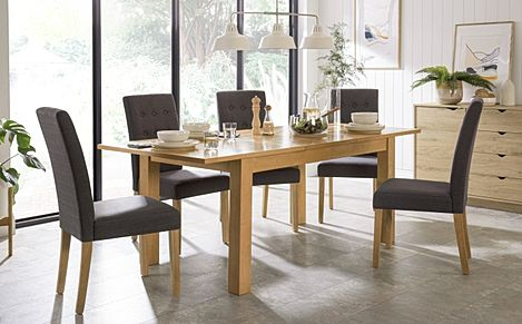 Hamilton 150-200cm Oak Extending Dining Table with 4 Regent Slate Fabric Chairs