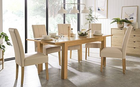 Hamilton 150-200cm Oak Extending Dining Table with 4 Carrick Ivory Leather Chairs