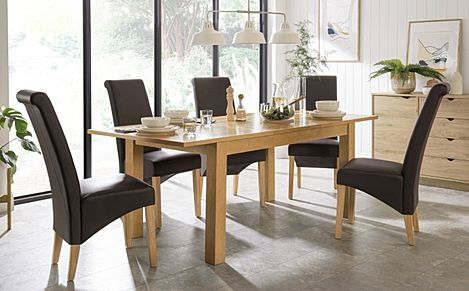 Hamilton 150-200cm Oak Extending Dining Table with 4 Richmond Brown Leather Chairs
