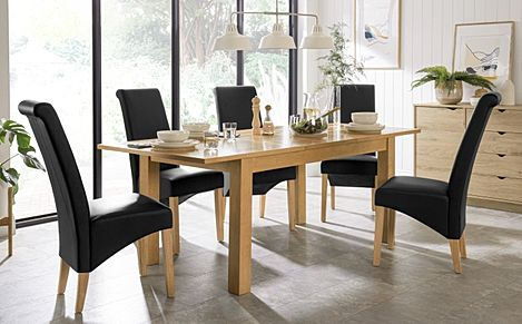 Hamilton 150-200cm Oak Extending Dining Table with 4 Richmond Black Leather Chairs