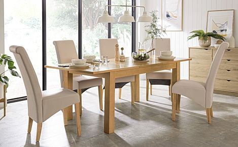 Hamilton 150-200cm Oak Extending Dining Table with 4 Richmond Cream Chairs