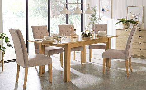 Hamilton 150-200cm Oak Extending Dining Table with 6 Hatfield Oatmeal Fabric Chairs