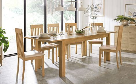 Hamilton 180-230cm Oak Extending Dining Table with 6 Oxford Chairs (Ivory Leather Seat Pads)