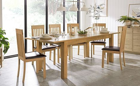 Hamilton 180-230cm Oak Extending Dining Table with 6 Oxford Chairs (Brown Leather Seat Pads)
